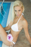 Beautiful blonde woman in white bikini by the pool Royalty Free Stock Photography