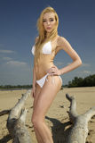 Beautiful blonde woman in white bikini Royalty Free Stock Images