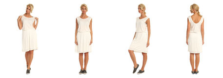 Beautiful blonde woman in white dress isolated on white Royalty Free Stock Photo