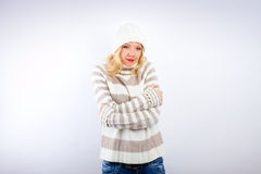Beautiful blonde woman - wintertime Stock Image