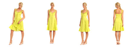 Beautiful blonde woman in yellow dress isolated on white Stock Photo