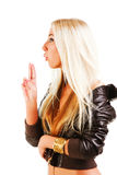 Beautiful blonde young girl in jacket Stock Photos