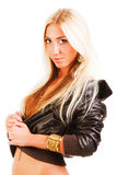 Beautiful blonde young girl in jacket Royalty Free Stock Photography