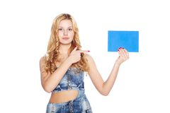 Beautiful blonde young woman with blank banner. Stock Images