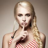 Beauty fashion portrait. blond girl royalty free stock photography
