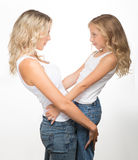 Beautiful blondes, a mother and kid together Stock Images