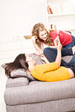 Beautiful blondie and brown teenager girls Stock Image