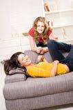 Beautiful blondie and brown teenager girls Stock Photo