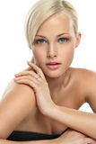 Beautiful blondie girl. Image with beautiful blondie girl on white background close-up Stock Photos