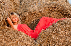 Beautiful blondie in a haystack Stock Images