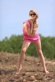 Beautiful blondie poses outdoors Stock Photography