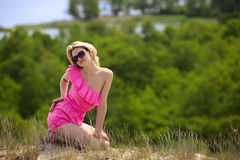 Beautiful blondie poses outdoors Stock Images