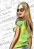 Beautiful blondie woman with sunglasses - fashion vector design. Royalty Free Stock Image