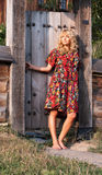 Beautiful blondie in the wooden gate Stock Images