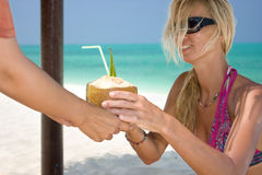 Beautiful blondy holding coconut Stock Photos