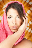 Beautiful blondy with pink scarf posing Royalty Free Stock Image