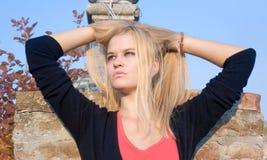Beautiful blondy woman posing Royalty Free Stock Photos