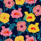 Beautiful blooming Floral pattern botanical plants Seamless ve. Ctor texture for fashion prints with in hand drawn style fabric, and all prints on navy blue vector illustration
