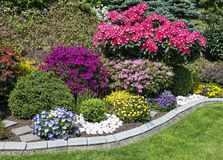 Beautiful blooming flower garden in summer Stock Photo