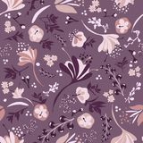 Beautiful Blooms on Purple. Background seamless repeating pattern of beautiful blooms on purple Royalty Free Stock Photography