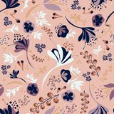 Beautiful Blooms on Salmon Pink. Background seamless repeating pattern of beautiful blooms on salmon pink Stock Photos