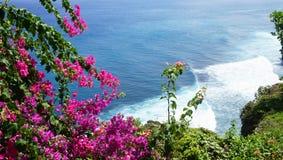 Beautiful blossom Uluwatu Temple on Bali, Indonesia. The cliffs and the sea near the Uluwatu Temple on Bali, Indonesia Stock Photography