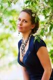 beautiful blossoming trees woman стоковая фотография