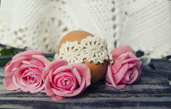 Beautiful blossoming tulip flower and Easter colorful eggs. Floral design. Nature background. Spring background with beautiful fre Stock Image
