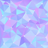 Beautiful blue abstract background of triangles and polygons with flashes of light in the corners. Vector illustration stock illustration