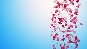 Beautiful blue background with falling hearts on Valentine`s Day stock video footage