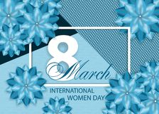 Beautiful blue background with flowers for International women`s day on March 8. Vector. Illustration stock illustration