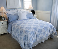 Beautiful blue bedroom interior Stock Photos