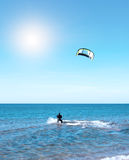 Beautiful blue Caribbean sky, kitesurfing and sun Stock Image