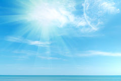Beautiful blue Caribbean sky and sun. Beautiful blue Caribbean sky, sea and sun Stock Photos