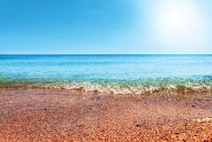 Beautiful blue Caribbean  sky and sun Stock Photo