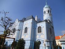 The blue catholic Church of St. Elizabeth in Bratislava. stock images