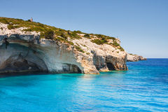 Beautiful blue caves on Zakynthos Royalty Free Stock Images