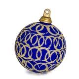 Beautiful blue Christmas ball, isolated on white background Stock Photo