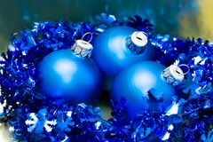 Beautiful blue Christmas balls Royalty Free Stock Photos