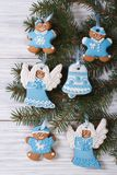 Beautiful blue Christmas gingerbread cookie Royalty Free Stock Images