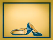 Beautiful blue classic women shoes Royalty Free Stock Photos