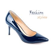 Beautiful blue classic women shoes isolated Royalty Free Stock Photography