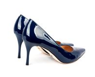 Beautiful blue classic women shoes isolated Royalty Free Stock Images