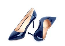 Beautiful blue classic women shoes isolated Stock Images