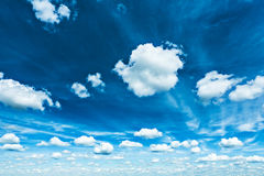Beautiful blue contrast sky with sparce cumulus clouds Stock Image