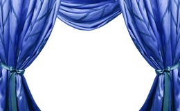 Beautiful blue curtains isolated on white background.  royalty free stock photo