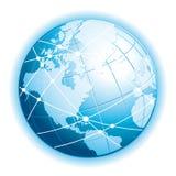 Beautiful blue 3d globe. Communication world icon. royalty free illustration