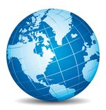 Beautiful blue 3d globe. America, Canada, Alaska. Beautiful blue 3d vector globe. America, Canada, Alaska and Atlantic ocean view Royalty Free Stock Images