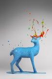 Beautiful blue deer with magic horns Stock Photography
