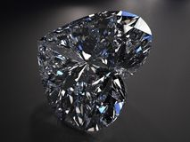 Beautiful blue diamond. Beautiful diamond render with refraction and caustic Stock Photo